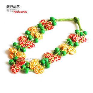 印度飾品 彩色犛牛骨藏飾項鏈