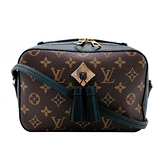 【台中米蘭站】全新品 Louis Vuitton Saintonge Monogram 帆布流蘇相機斜背包(M43555-黑)