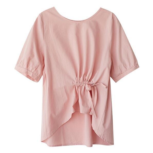 襯衫 棉麻衫 上衣 新款棉麻寬鬆顯瘦短袖抽繩減齡套頭圓領上衣MB048E-1868.胖胖唯依