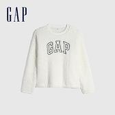 Gap女裝 Logo仿羊羔絨圓領休閒上衣 655689-牛奶白