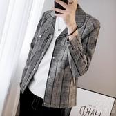 新款夾克男士韓版修身格子上衣潮流百搭休閒帥氣外套男 優尚良品
