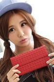 【Miyo皮夾】時尚經典綿羊皮編織釘釦長夾(紅色)