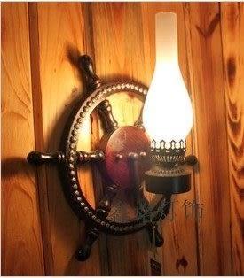 設計師美術精品館歐式復古地中海實木壁燈馬燈美式鄉村酒吧燈過道燈工程燈具