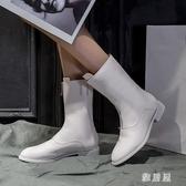 馬丁靴女前拉鏈中筒內增高白色百搭網紅瘦瘦短靴2019新款秋款單靴YJ981【雅居屋】