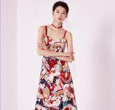 時尚印花中長款吊帶絲絨連衣裙吊帶 東京衣櫃