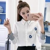 襯衣女2020春裝新款韓版學生百搭寬鬆白色襯衫女長袖顯瘦休閒上衣 美芭