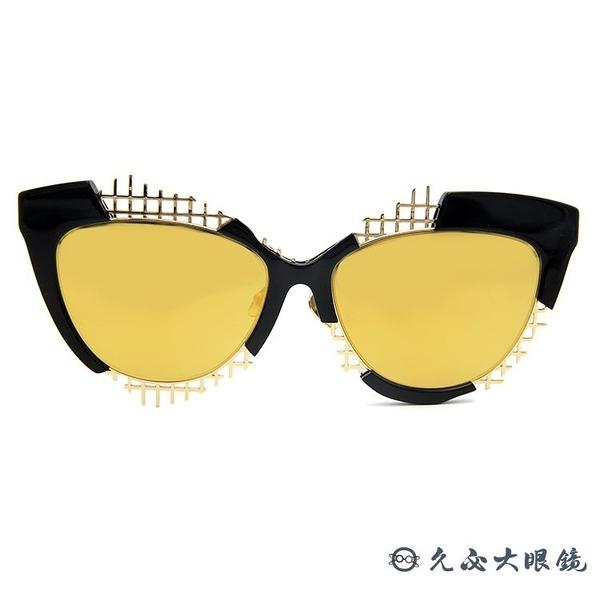 HAZE 太陽眼鏡 貓眼 個性 水銀 墨鏡 VOZ-1BK 黑-金 久必大眼鏡