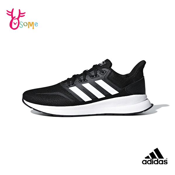 adidas運動鞋 男鞋 RUNFALCON 透氣慢跑鞋 耐磨 運動鞋 跑步鞋R9381#黑白