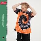 2021夏季歐美新款短袖T恤 旋渦撞色紮染嘻哈體恤T恤 慵懶風高街潮流潮牌T恤 男生小眾設計T恤
