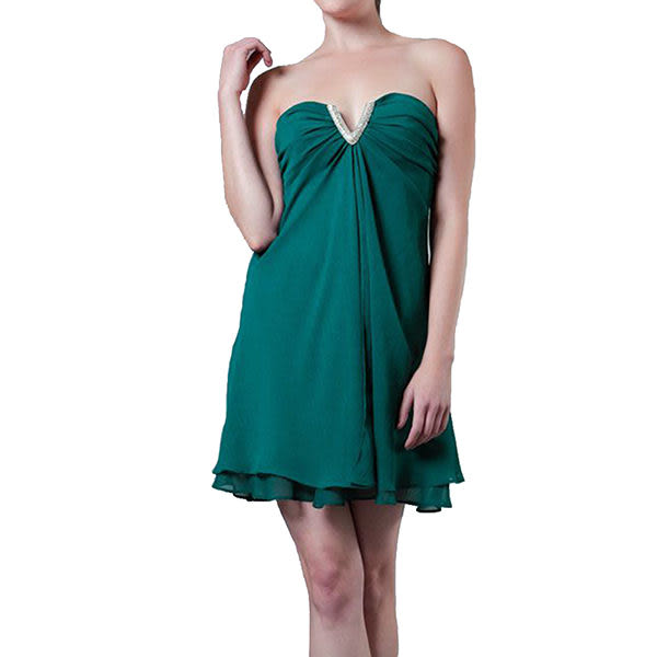 『摩達客』美國進口Landmark無肩帶V口名媛風藍綠色派對小禮服/洋裝(含禮盒/附絲巾)(1831395002)