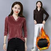 中國風大尺碼長版上衣 條紋金絲絨加絨長袖T恤女寬鬆新款秋冬裝純色女式打底衫