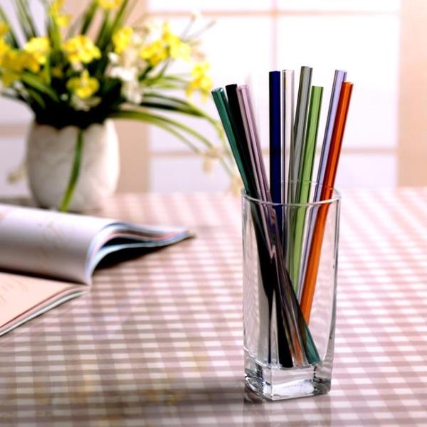 創意彩色透明玻璃吸管耐熱高硼硅藝術果汁奶茶成人防口紅彎吸管