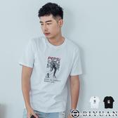 【OBIYUAN】短袖上衣 人像 轉印 潮流短T 圓領短袖T恤 共2色【X6894】