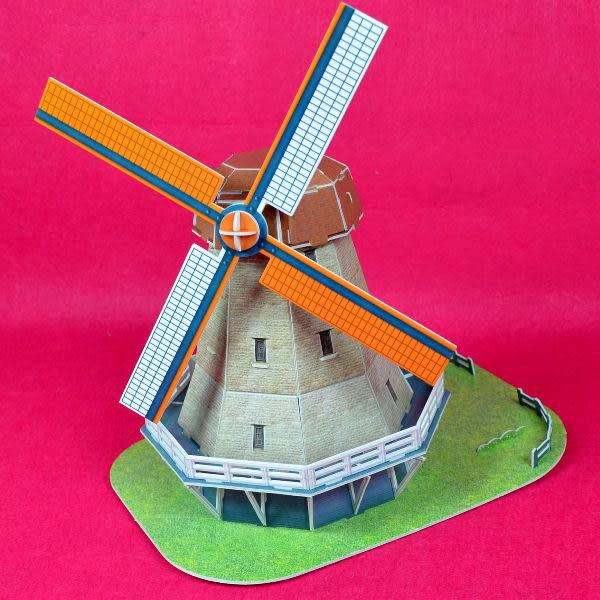佳廷模型 親子DIY紙模型3D立體勞作立體拼圖專賣店 今生必遊景點 荷蘭風車3  樂立方C089