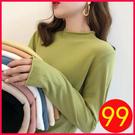 長袖針織衫~素色針織衫~半高領針織衫薄款寬松外穿女士毛衣內搭打底衫上衣1036.H353H愛尚布衣