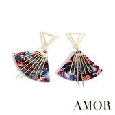 AMOR 多彩質感時尚紋理扇型耳環/耳針