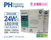 PHILIPS飛利浦 LED DN020B 24W 3000K 黃光 全電壓 20cm 舒適光 崁燈 _ PH430738