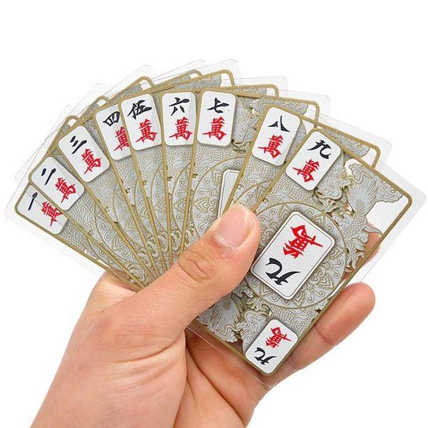 水晶麻將撲克牌全塑料迷你旅行麻將紙牌套裝送臺布籌碼幣2個色子 智聯igo