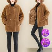 棉衣冬季羊羔毛寬鬆顯瘦純色簡約中長外套保暖