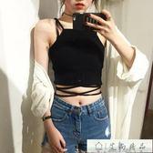 短版上衣 韓版系帶拼接修身高腰露臍上衣