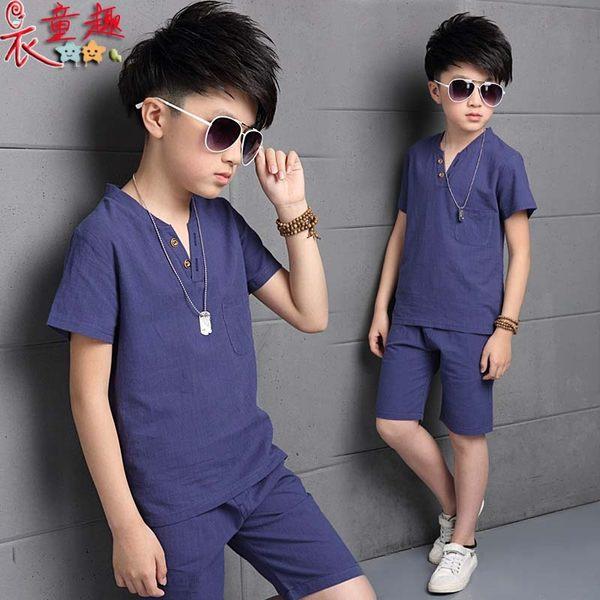 衣童趣 ♥韓版男童 時尚V領棉麻兩件式套裝 休閒百搭款 涼爽休閒服