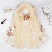 洋氣時尚絲巾女超大薄款春秋韓版百搭披肩秋款圍巾兩用紗巾秋冬季