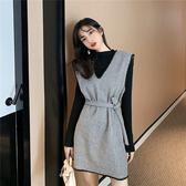 出清388 韓系優雅呢子連身裙v領針織套裝長袖裙裝