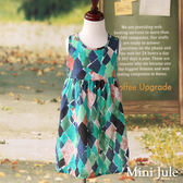 Mini Jule 女童洋裝 彩色滿版幾何圖形無袖洋裝(綠)Azio Kids 美國派 童裝