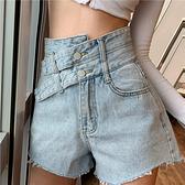 時尚短褲 網紅ins高腰牛仔短褲女2021夏新款大碼顯瘦百搭設計感A字闊腿熱褲