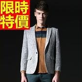 毛呢外套-羊毛韓版修身單扣男西裝外套1色63af7[巴黎精品]