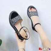 【伊人閣】楔形涼鞋 厚底 坡跟涼鞋 內增高 鬆糕鞋