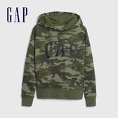 Gap男童 Logo簡約字母連帽休閒上衣 615926-綠色迷彩