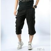 天工裝褲子薄款寬鬆短七分褲男