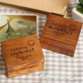 復古木質手寫字母日記手賬本裝飾印章 28枚整盒裝diy 送印泥 薔薇時尚