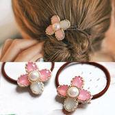 珍珠水晶感四葉草髮圈 髮飾 氣質花朵 精緻髮飾 婚禮造型髮飾