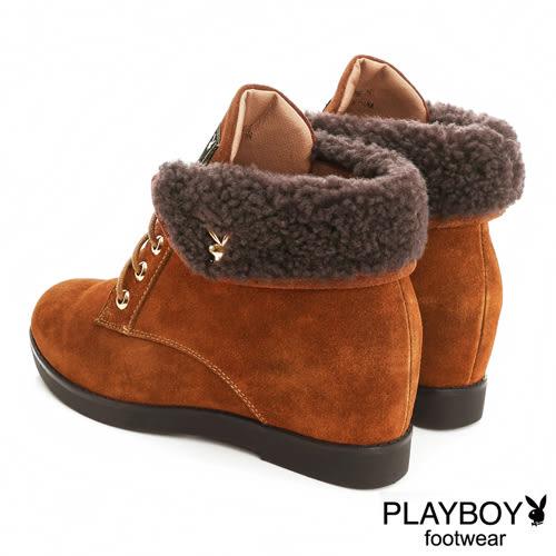 PLAYBOY 毛呢反折 內增高短靴-駝