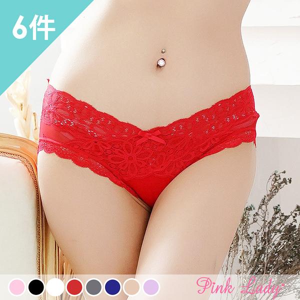 性感無痕蕾絲內褲 交織花樣 中低腰內褲5566(6件組)-Pink Lady