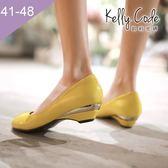 大尺碼女鞋-凱莉密碼-小清新百搭工作鞋好穿楔型低跟鞋3.5cm(41-48)【QZ810-1】黃色