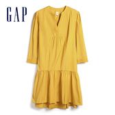 Gap女裝甜美褶皺設計V開領連衣裙542204-鍍金
