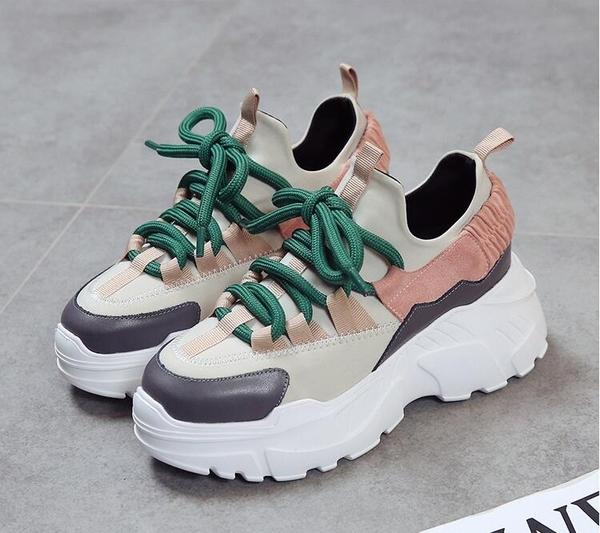 女內增高鞋 新款運動鞋女百搭鬆糕厚底鞋