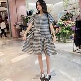 漂亮小媽咪 孕婦裙 【D7879】 格紋 短袖 棉麻 洋裝 孕婦裝 格子紋 孕婦洋裝