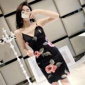 連衣裙V領復古花朵性感低胸露肩修身潮收腰吊帶包臀2018夏裝新款