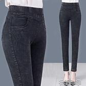 媽媽褲加絨褲子女外穿中老加厚秋冬季新款牛仔高腰大碼小腳女士媽媽裝 快速出貨