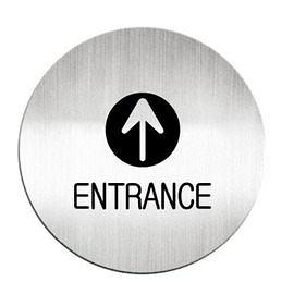 迪多Deflect-o 鋁質圓形貼牌-英文ENTRANCE入口指示 612110C