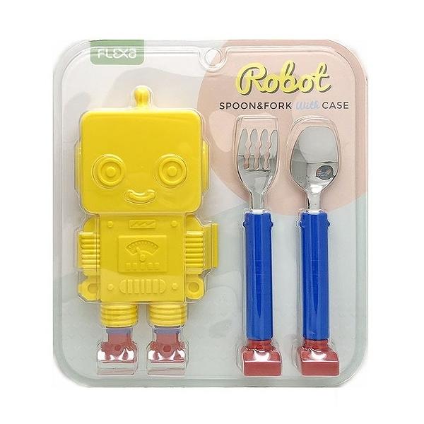 韓國製 造型機器人 Robot 湯叉不鏽鋼餐具組 附收納盒-黃色(0909)   -超級BABY