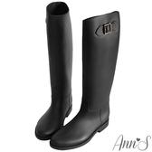 Ann'S倫敦漫步-純色釦帶顯瘦騎士雨靴-黑