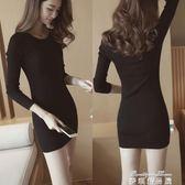 毛衣女修身黑色緊身連身裙針織裙包臀內搭彈力中長款打底衫 麥琪精品屋