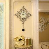 簡約客廳掛鐘家用靜音創意時鐘菱形現代臥室夜光掛錶石英鐘igo