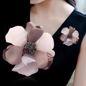 正韓胸針胸花娟紗披肩扣手工布藝花朵優雅大氣別針配飾品女H0542