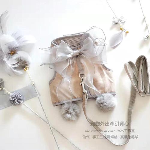 寵物牽引繩衣服兩用四季貓咪小型犬狗外出透氣網面仙女蝴蝶結 露露日記
